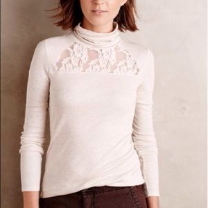 Anthropologie Lace-topped Turtleneck